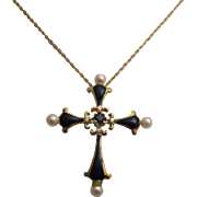 Lovely 14K Gold Enamel Cross with Pearls, Blue Sapphire and Diamonds
