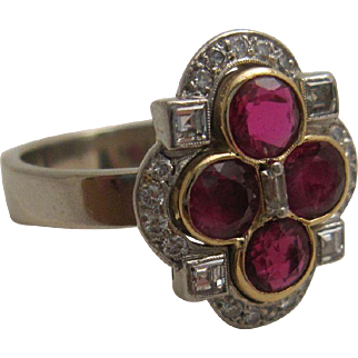 Gorgeous Diamond and Natural Ruby Antique Ring