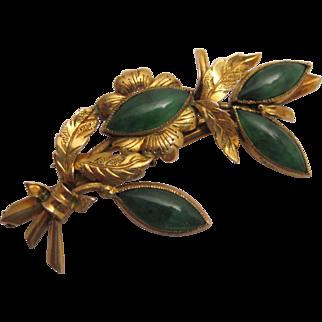 Vintage Handmade 14K Gold and Jadeite Jade Brooch