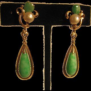 Fabulous Old 14K Gold Jadeite Jade and Pearl Earrings