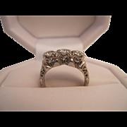 Edwardian Platinum 3 Across Diamond Ring