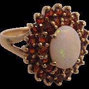 10K Gold, Garnet and Opal Ring