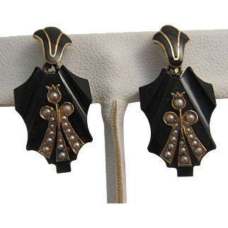 Rare Victorian Onyx Enamelled Earrings