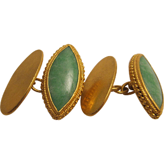 Handsome Old 21K Jadeite Cufflinks