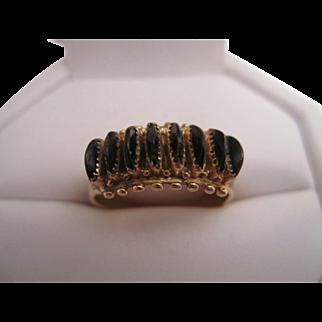 H & A Bowekaty14K Black Coral Ring