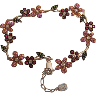 18K Diamond and Gemstone Floral Bracelet