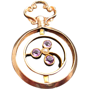 9K Amethyst and Pearl Pendant