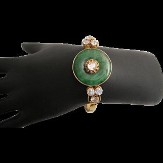 Outstanding Antique Jadeite Jade and Diamond Bracelet