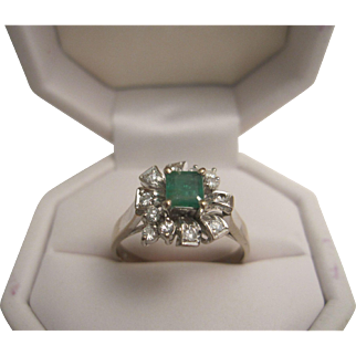 14K (White Gold) Emerald and Diamond Ring