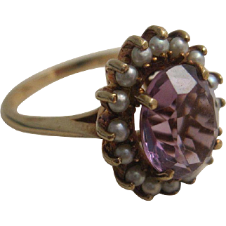 Pretty Birks 10K Amethyst and Pearl Ring