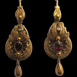 Antique Victorian Garnet Earrings