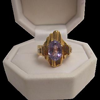 Custom Made 18K Amethyst and Diamond Ring