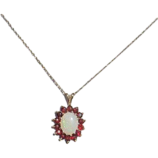 Lively 10K Opal and Garnet Pendant