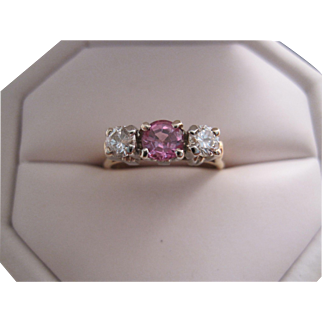 Sweet 3 Across Diamond and Pink Sapphire Ring