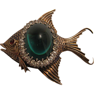 Fabulous Sterling Fish Brooch