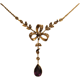 Pretty 14K Amethyst and Pearl Edwardian Necklace