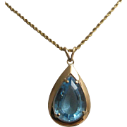 14K Topaz Pendant with 14K Chain