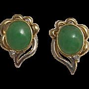 18K Yellow and White Gold Jadeite Jade Earrings