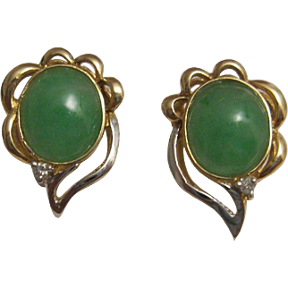 18K Yellow and White Gold Jadeite Jade Earrings