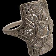 Lovely Filigree Platinum Diamond Ring