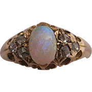 Hallmarked 18K Antique Opal and Diamond Ring