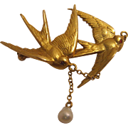 14K Gold and Pearl Edwardian Brooch