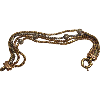 Handsome Tri-color Gold and Diamond Bracelet