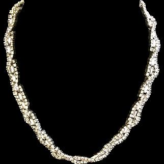 Vintage Kramer of New York Twisted Rhinestone Necklace