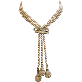 Vintage Triple Strands of Glass Pearls & Seed Pearl Balls with Rondelles, Rhinestone Clip/Pin