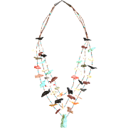 Vintage Triple Strand Southwest Style Fetish Necklace, Central Turquoise Bear