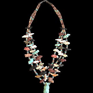Vintage Triple Strand Southwest Style Fetish Necklace, Central Turquoise Bear