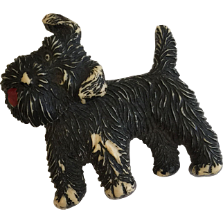 """Vintage Celluloid Black Terrier Dog Pin with Swiveling Head marked """"Czechoslovakia"""""""