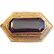Vintage Brass Hexagon Pin with Faux Amethyst