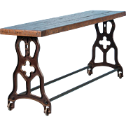 American Made Industrial Console Table With Oak Top and Cast Iron Legs