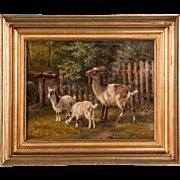 19th Century Original Danish Oil Painting of Barnyard Goats