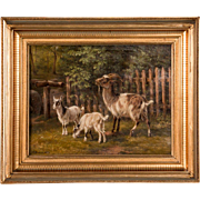 19th Century Original Danish Oil Painting of Barnyard Goats