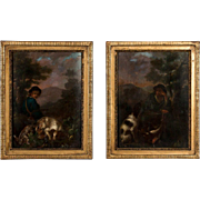 Pair of small original French 19th century oil paintings of hunting scenes, circa 1800