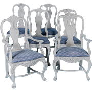 Set of Six Antique 19th Century Swedish Gustavian Dining Chairs With Gray Paint