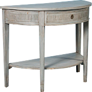 Antique Gustavian Demilune Console Table from Sweden, Painted Gray, circa 1860-1880