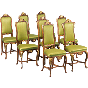 Set of 8 Carved Antique 19th Century Norwegian Dining Chairs