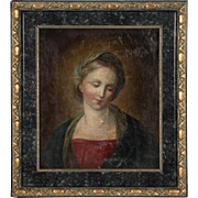 19th Century Original French Oil Painting Portrait of a Woman