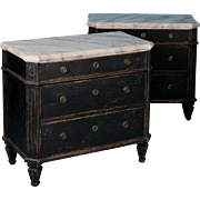 Pair of Small 19th Century Swedish Black Chest of Drawers