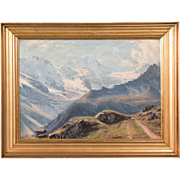 19th Century Original Oil Painting of a European Alpine Scene