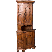 Antique 19th Century Swedish Country Pine Corner Cabinet