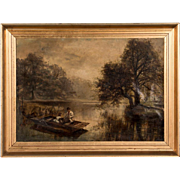Antique 19th Century English Oil Painting of A Father and Daughter Fishing on a Pond