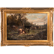 Antique 19th Century Original English Oil Painting Landscape with Cows