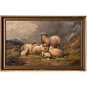 Large Antique 19th Century Original English Oil Painting Mountain Landscape With Sheep