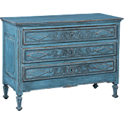 Antique Early 19th Century French Louis XVI Chest of Drawers with Blue Paint