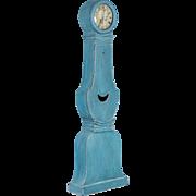 Antique 19th Century Blue Painted Swedish Mora Grandfather Clock