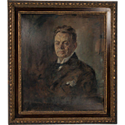 Original Antique Oil on Canvas Painting Portrait of a Gentleman, circa 1900's